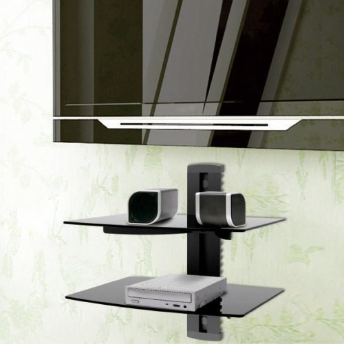 DVD Player Wall Mount Bracket Adjustable 2 Shelf Economical Aluminum and Tempered Glass for DVD Players DVD-212 | True Vision Philippines