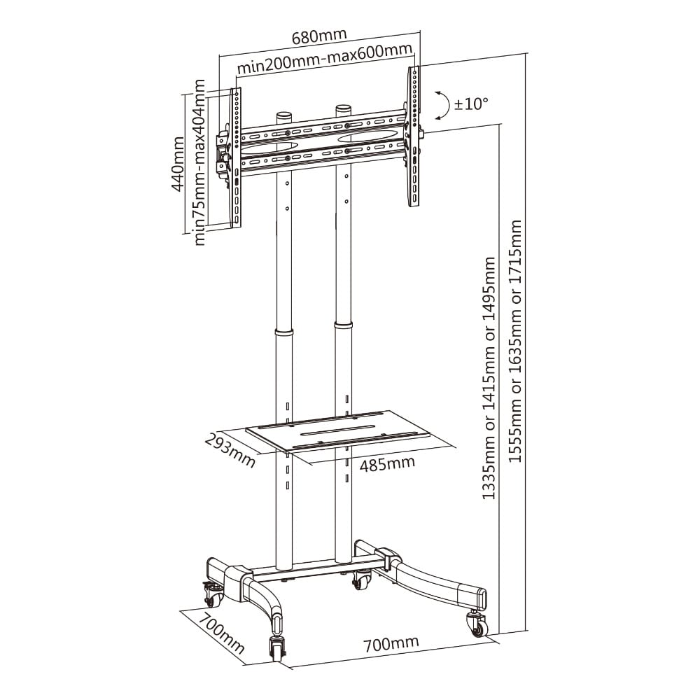 37″ to 70″ Height Adjustable Movable LED LCD TV Stand Mount T1030T | True Vision Philippines
