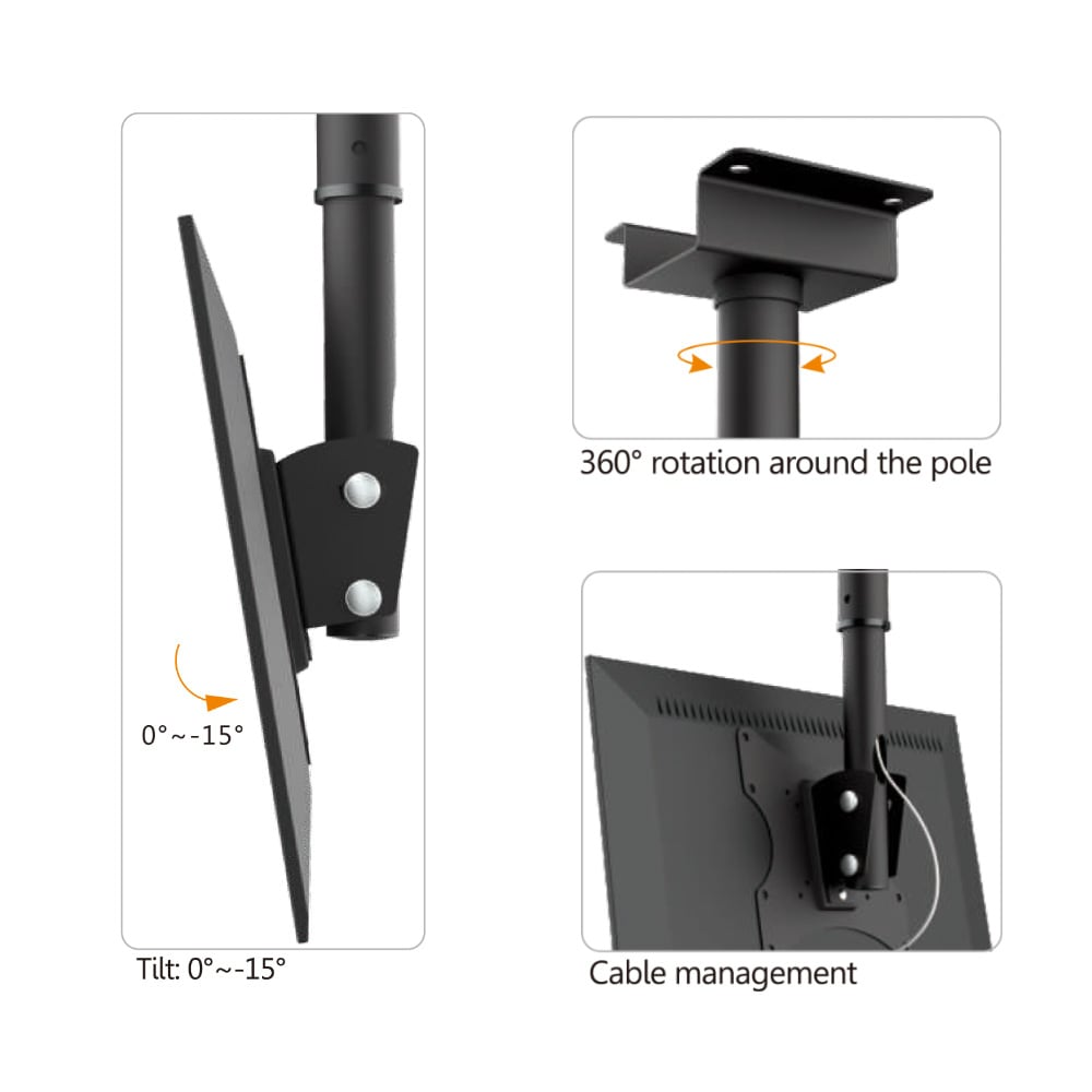 37″ to 70″ Telescopic Adjustable LED LCD TV Ceiling Mount Monitor TV Bracket PLB-CE348 | True Vision Philippines
