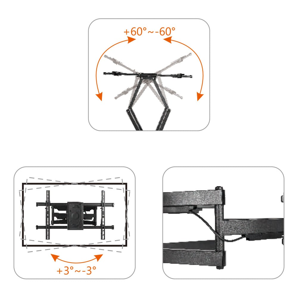 37″ to 90″ Super Solid Large Full Motion LCD LED TV Wall Mount Bracket TV Holder Monitor LPA49-486 | True Vision Philippines